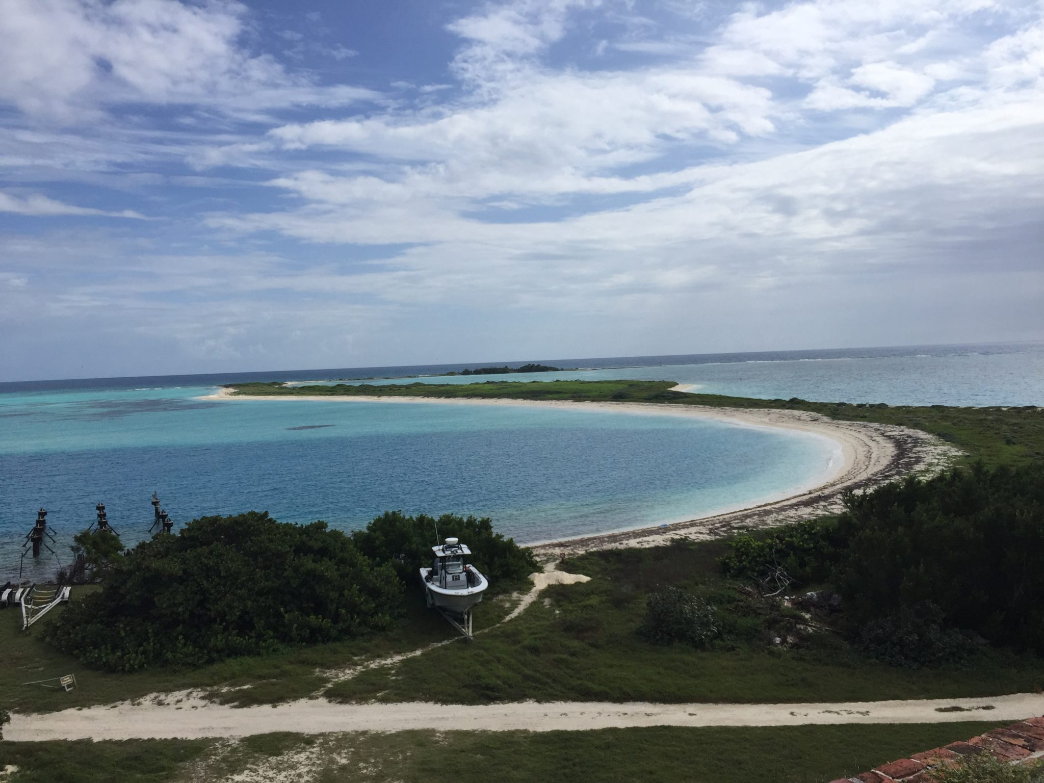 Dry Tortugas Harbor with boat